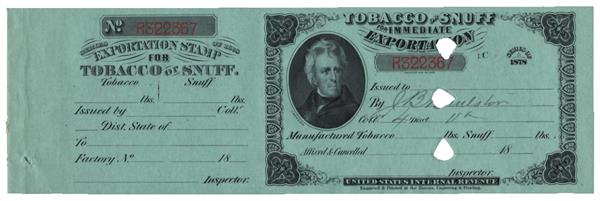 1878 Exportation Stamp for Tobacco or Snuff