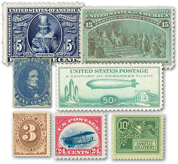 1862-1933 US Historic Collection, Unused with Small Imperfections, Set of 7 Stamps