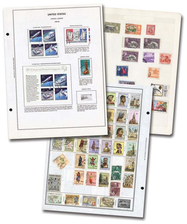 1/2 Pound Worldwide Album Pages, includes Unused and Used Stamps
