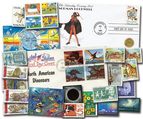 Educational Stamps and Covers Collection: 82 US Stamps, 38 Foreign Stamps, 8 First Day Covers