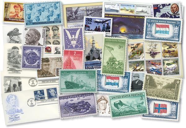WWII Stamp and Cover Collection, Set of 53 US Worldwide Stamps, Mint and Used & 4 US First Day Covers