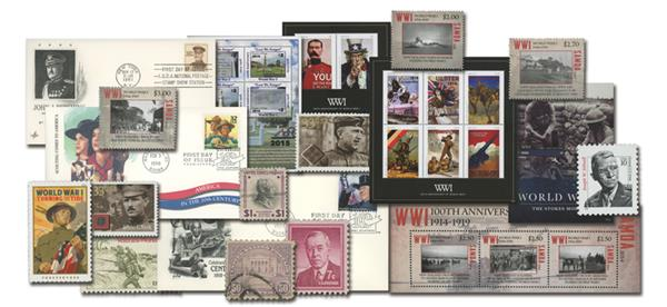 WWI Stamp and Cover Collection:Set of 28 Worldwide Stamps & 3 US First Day Covers