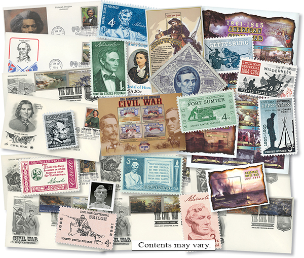 Civil War Stamps and Covers Collection: 13 US Stamps, 21 Foreign Stamps, 10 First Day Covers