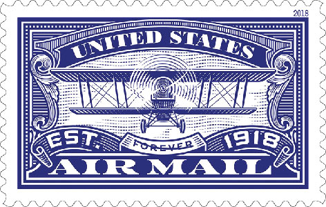 2018 First-Class Forever Stamp - Blue 'Airmail'