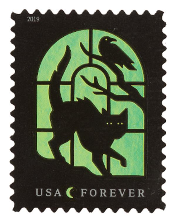 2019 First-Class Forever Stamp - Spooky Silhouettes: Cat and Raven on Yellow Background