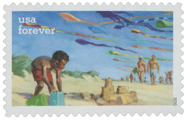 2020 First-Class Forever Stamps - Enjoy the Great Outdoors: Building a Sandcastle