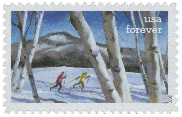 2020 First-Class Forever Stamps - Enjoy the Great Outdoors: Cross-Country Skiing