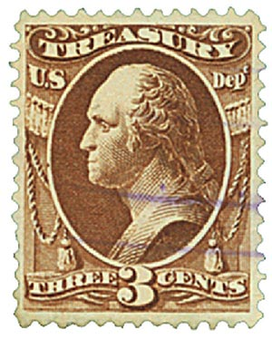 1879 3c brn, treasury, soft paper