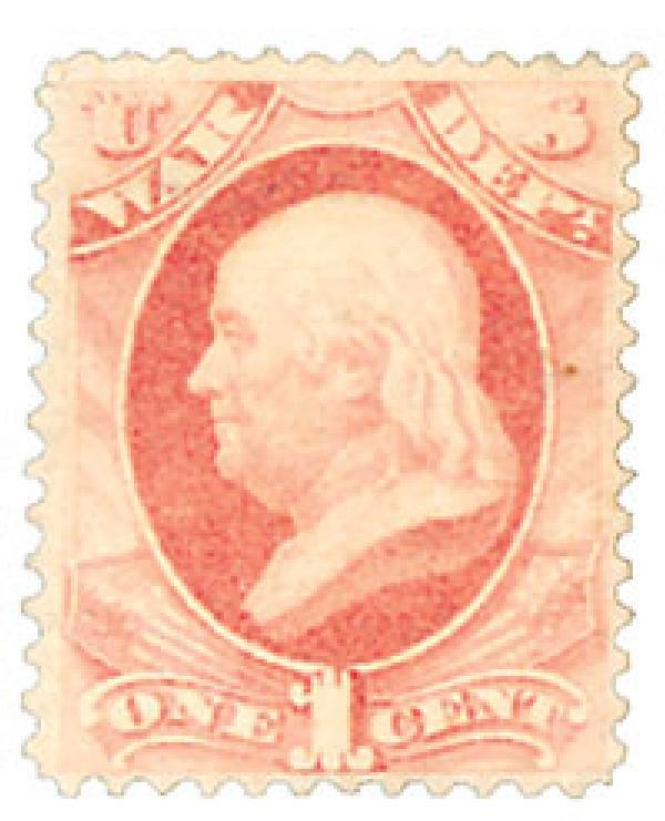 1879 1c Rose Red, War Department, Franklin, Soft Paper