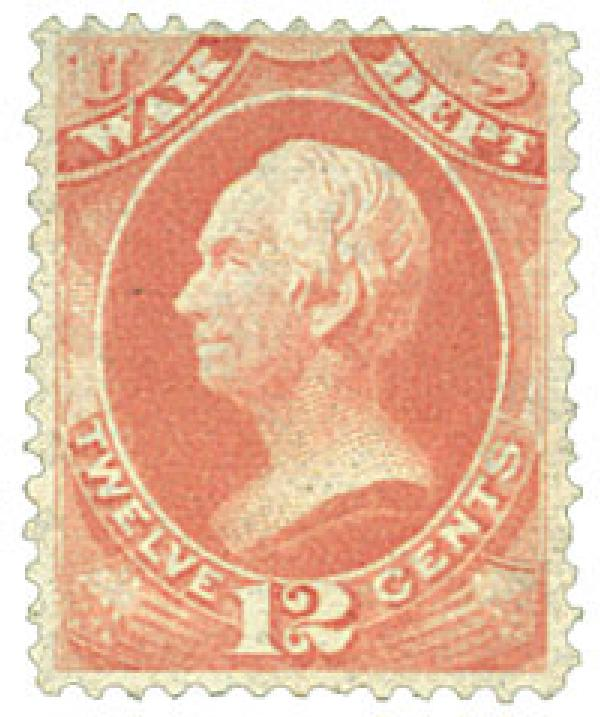 1879 12c Rose Red, War Department, Clay, Soft Paper