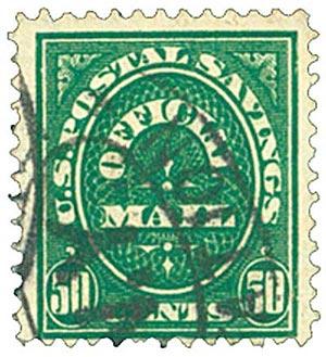 1911 50c dk grn, post sav, dk wmk.