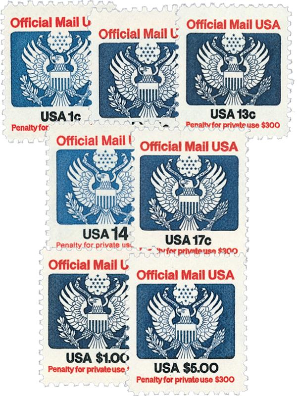 1983-85 Official Mail, 7 stamps