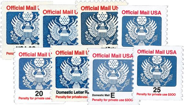 1983-88 Official Mail, 8 stamps