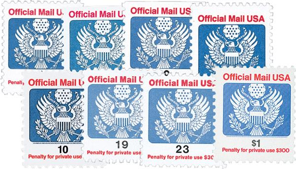 1989-93 Official Mail, 8 stamps