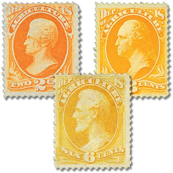 1873 Department of Agriculture, Set of 3 stamps, Used with small imperfections