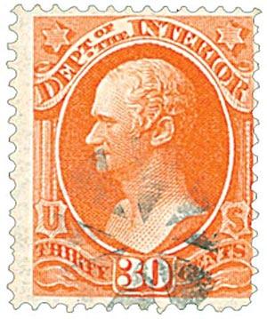 1873 30c ver, interior, hard paper