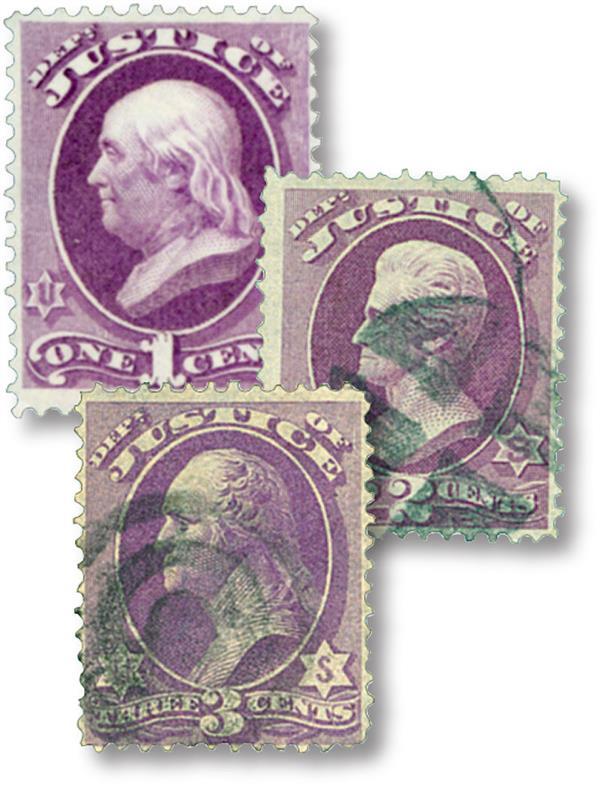 1873 1c-3c Justice Dept. Officials (3)