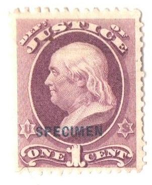 1875 1c pur, justice, bl ovprnt