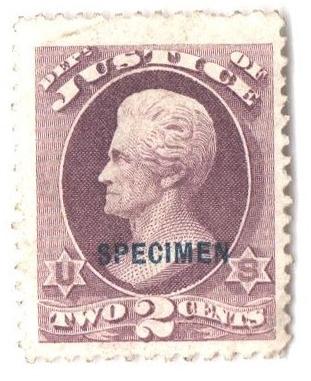 1875 2c purple, justice department, blue overprint