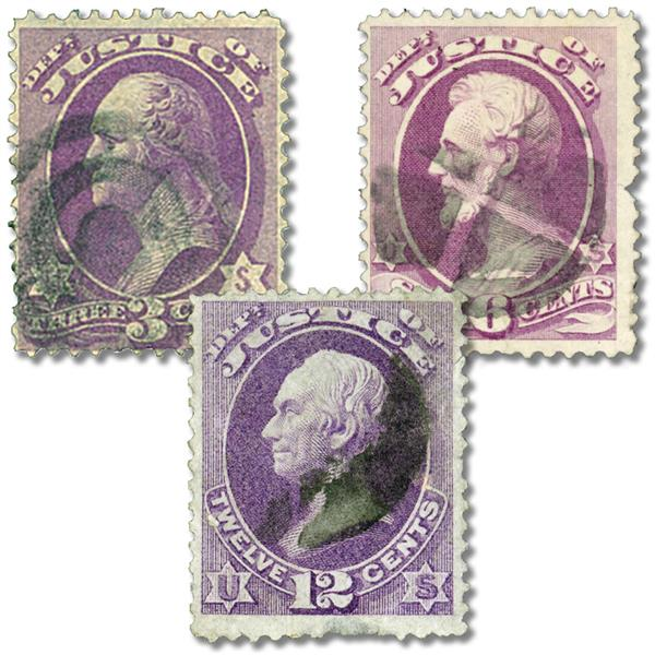 1873 Department of Justice, 3 stamps