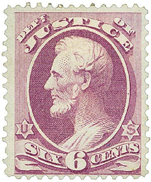 1873 6c pur, justice, hard paper
