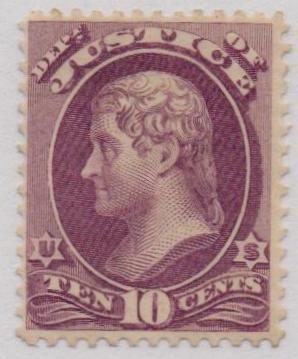 1873 10c pur, justice, hard paper