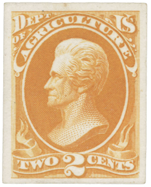 1873 2c yellow, Agriculture on Card