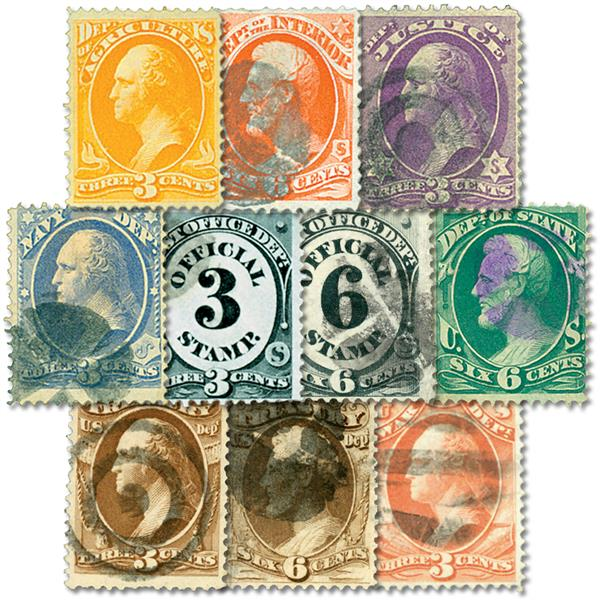 1873 Officials Collection, set of 10