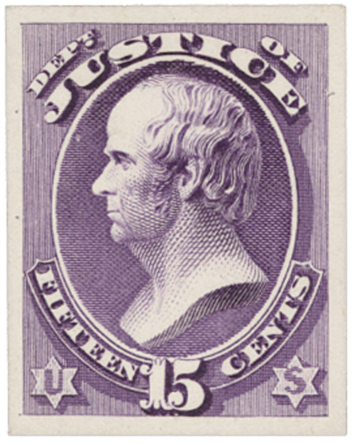 1873 15c purple, plate on card