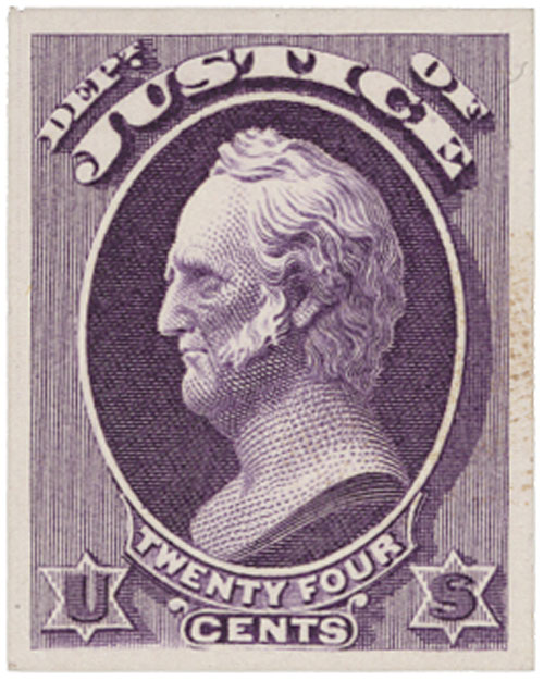 1873 24c purple, plate on card