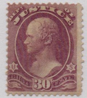 1873 30c pur, justice, hard paper
