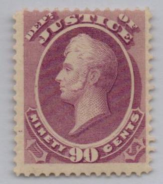 1873 90c pur, justice, hard paper