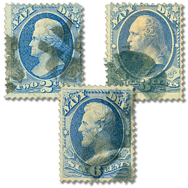 1873 Department of Navy, 3 Stamps