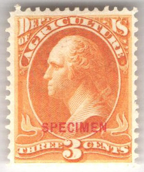 1873 3c yel, agri. hard paper Specimen