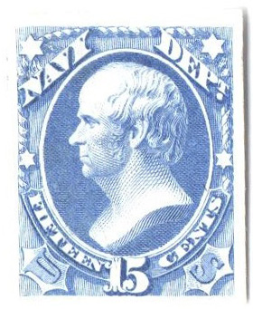 1873 15c ultramarine, navy proof on India paper