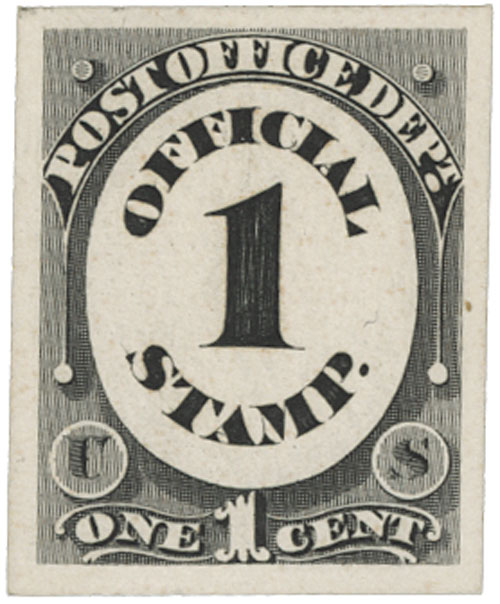 1873 1c blk, post office, on card