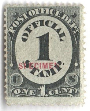 1875 1c black, post office