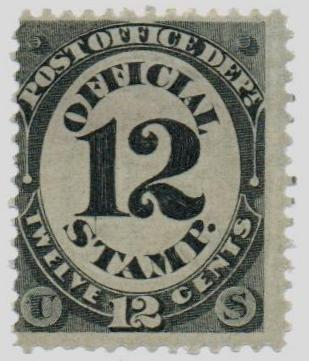 1873 12c blk, post office, hard paper