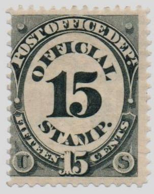 1873 15c blk, post office, hard paper