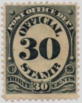 1873 30c blk, post office, hard paper