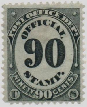 1873 90c blk, post office, hard paper