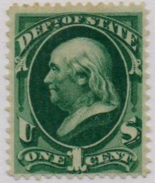 1873 1c dk grn, state, hard paper