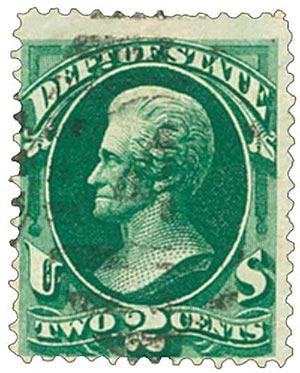 1873 2c dk grn, state, hard paper