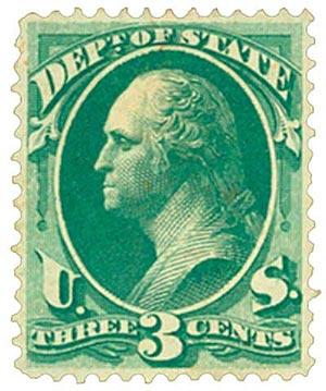 1873 3c brt grn, state, hard paper
