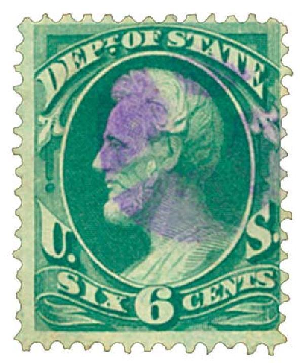 1873 6c brt grn, state, hard paper