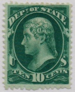 1873 10c dk grn, state, hard paper