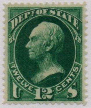 1873 12c dk grn, state, hard paper