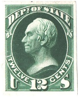 1873 12c green, State Proof on India Paper