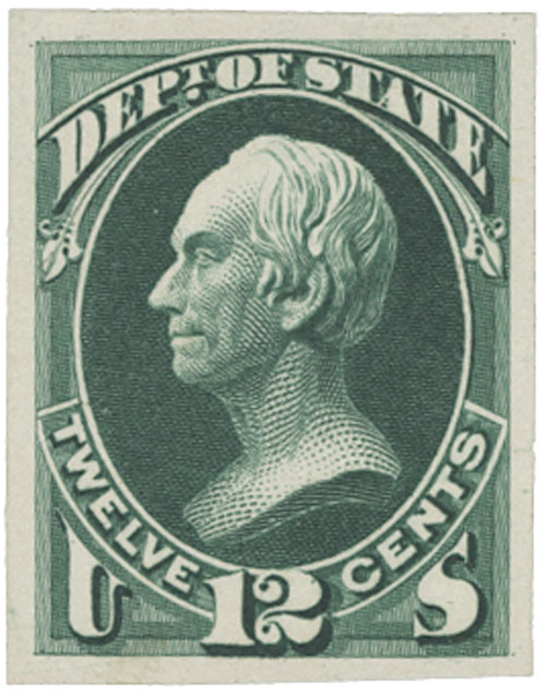 1873 12c green, state