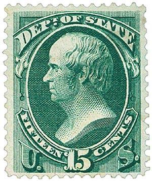 1873 15c dk grn, state, hard paper